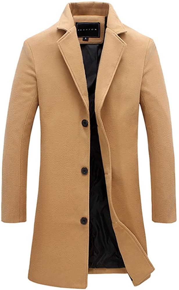 QZUnique Men's Fashion Simple Slim Fit Lapel Collar Casual Wool Coat US M Khaki