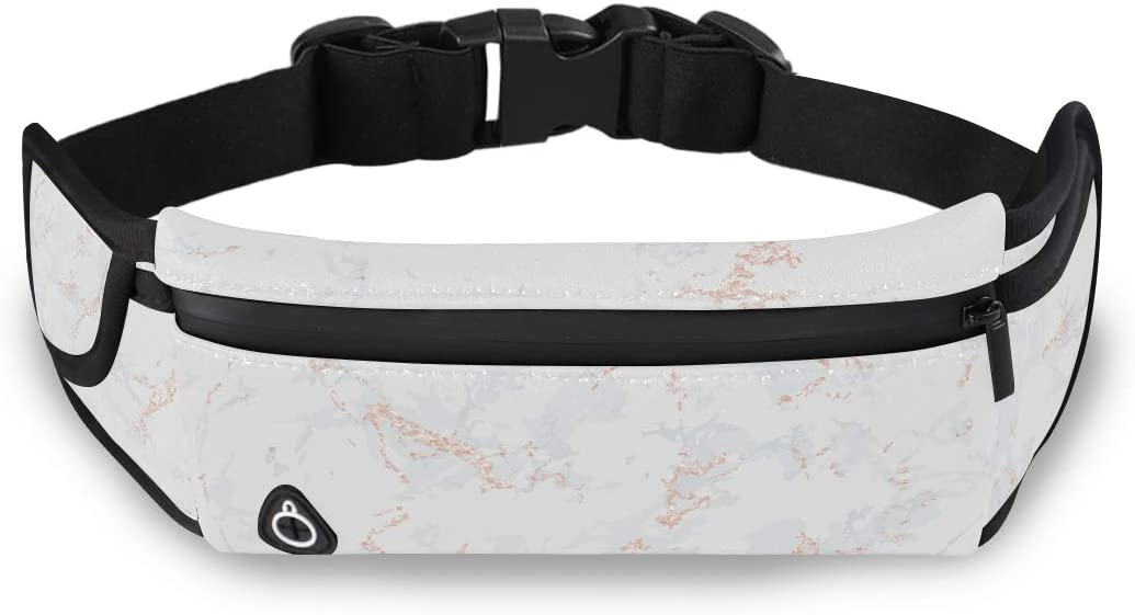 White Marble Texture Rose Gold Patina Clear Bags Fashion Cheap Waist Pack Waist Pack Girls With Adjustable Strap For Workout Traveling Running