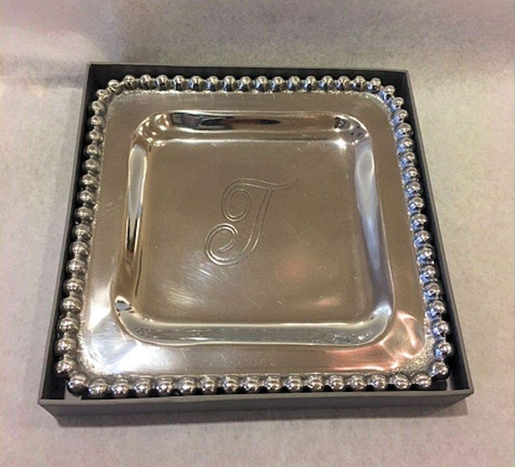Mud Pie T Initial Metal Trinket Tray