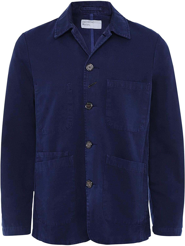 Universal Works Men's Cotton Canvas Bakers Jacket Navy