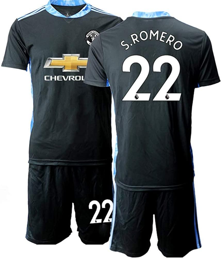 WEIFENG Kids 20/21 S.Romero 22# Soccer Jersey T-Shirt and Sports Shorts Suit -Black