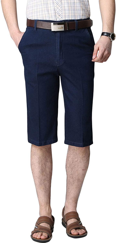 Flygo Men's Flat Front Knee Length Stretch Work Jeans Denim Shorts