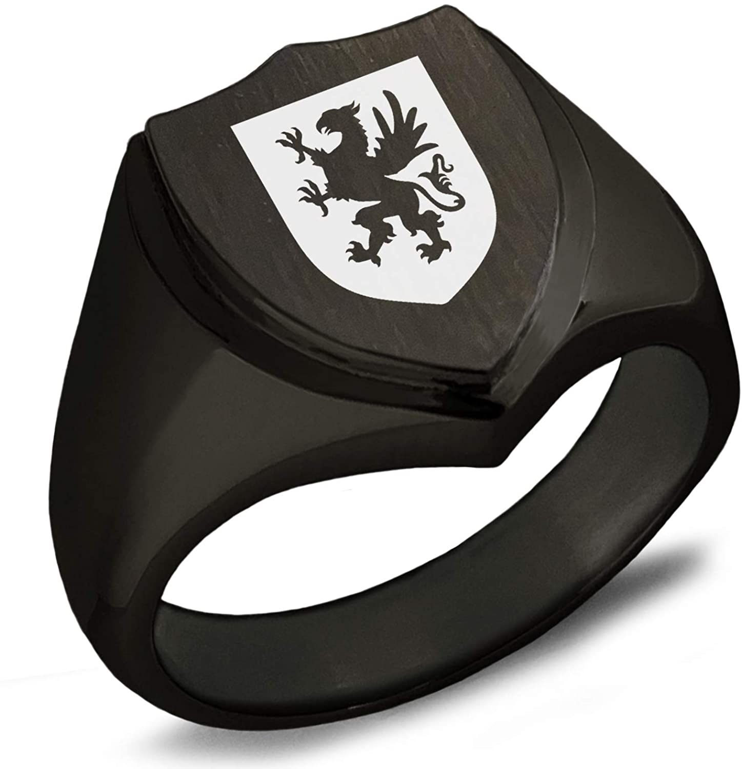 Tioneer Gunmetal Gray Stainless Steel Griffin Valor Coat of Arms Shield Biker Style Polished Ring, Size 10.5