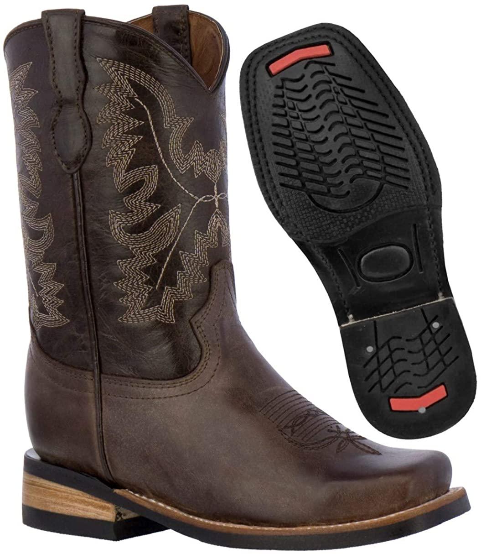 Kids Dark Brown Western Cowboy Boots Genuine Leather Smooth Square