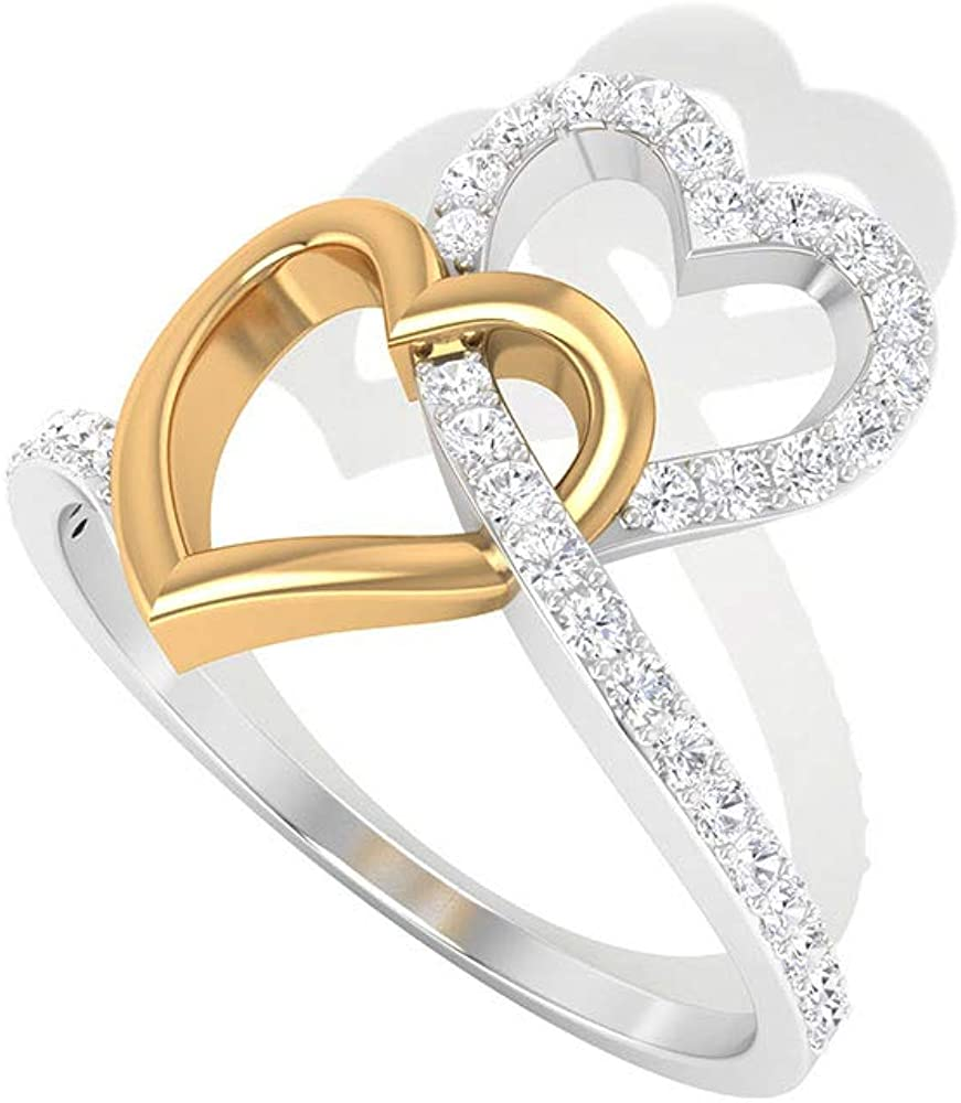 Interlock Double Heart Ring, Vintage Diamond IGI Certified Wedding Ring, Two Tone Heart Ring, IJ-SI Color Clarity Diamond Ring Valentine Gift Her, 14K Yellow Gold, Size:US 10.0