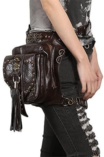 Steampunk Skull Waist Bag Women Gothic Tassels Leather Leg Cross Body Bags