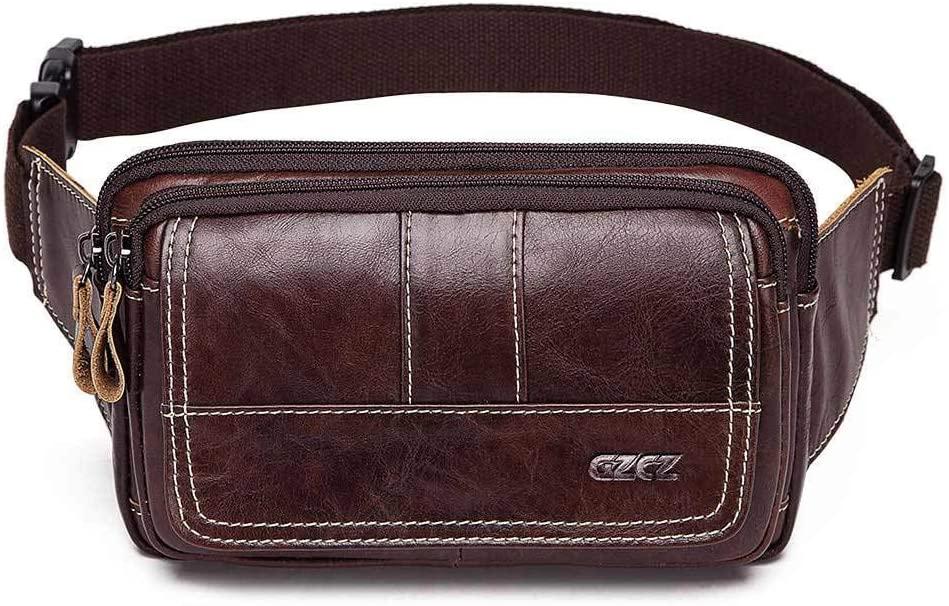 Yehyep Mens Genuine Leather Waist Bag, Large Travel Money Pouch Bum Bag Vertical Genuine Leather Belt Bag Adjustable