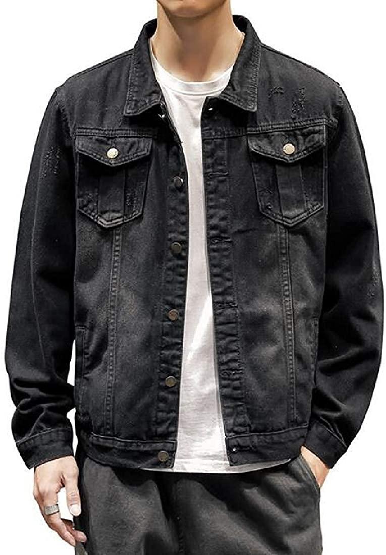Sudhguyfuy Mens Denim Jackets Loose Casual Button Rugged Wear Unlined Denim Jacket Coat,Black,Large