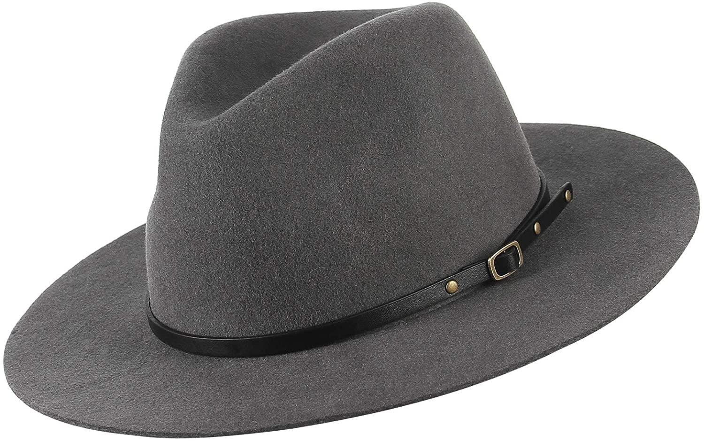 GEMVIE 100% Wool Felt Fedora Hats Men's Women's Classic Wide Brim Trilby Panama Wool Gentleman Hat