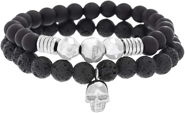Steve Madden Stainless Steel Skull Station, Simulated Black Onyx, and Lava Stone Beaded Stretch Bracelet Set for Men