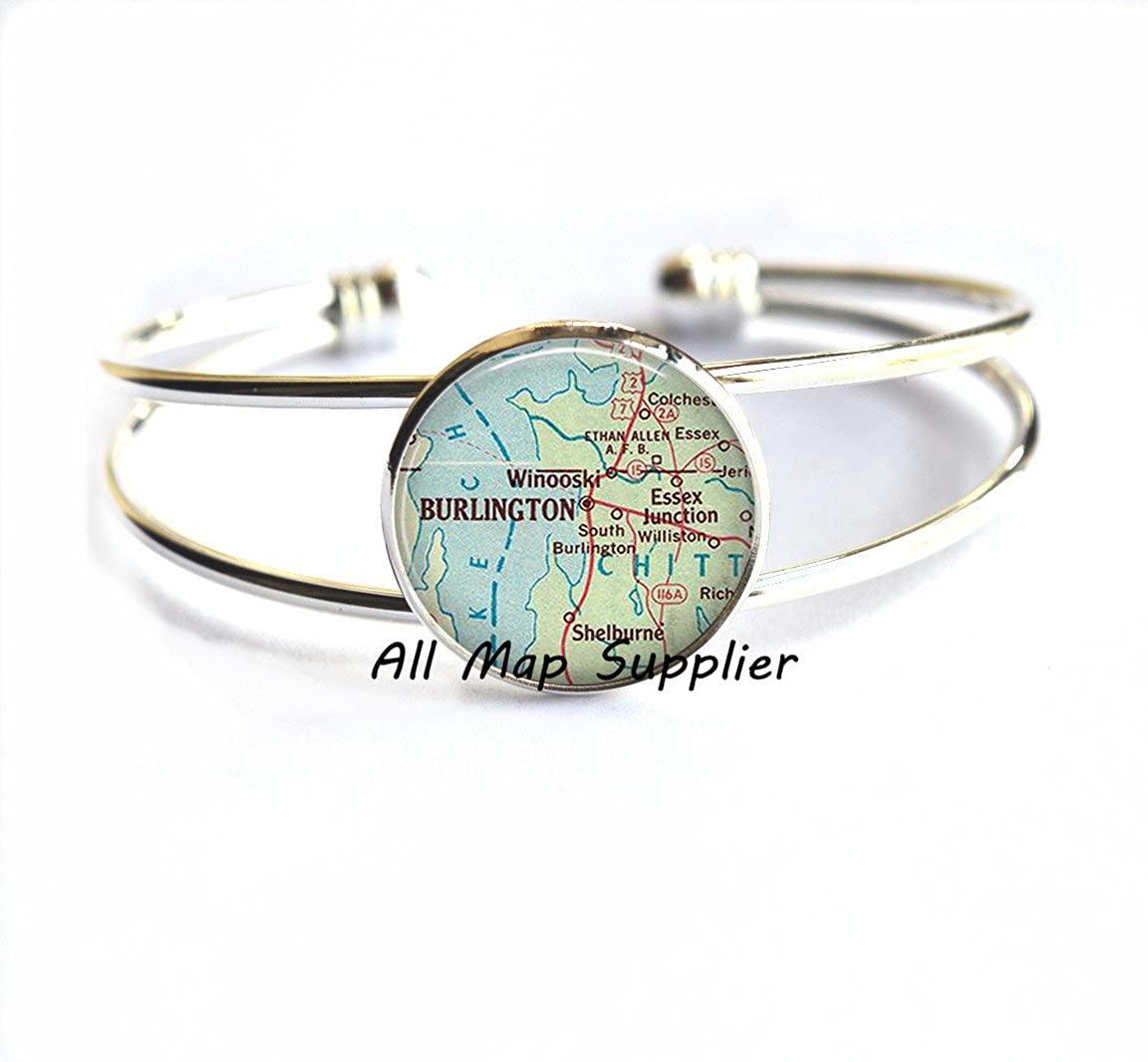 AllMapsupplier Charming Bracelet,Burlington map Bracelet, Burlington map Bracelets, Burlington Vermont map Bracelet, map Jewelry,A0300
