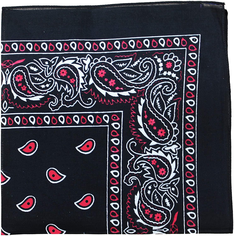 12 Pack Uni Style Apparel 100% Cotton 22 x 22 Inch Paisley Printed Bandana