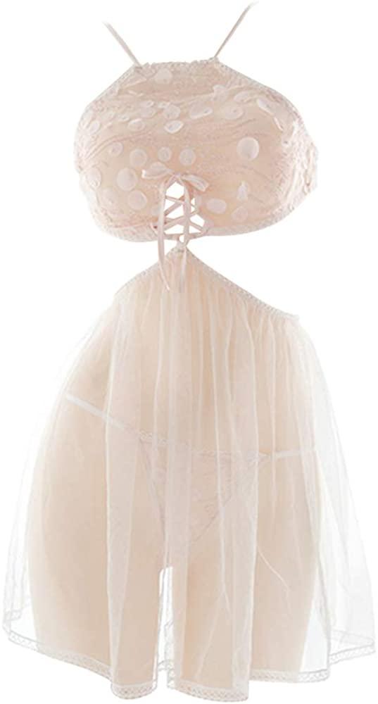 YOMORIO Vintage Lace Chemise French Style Chiffon Sleepwear Lingerie Set Pink