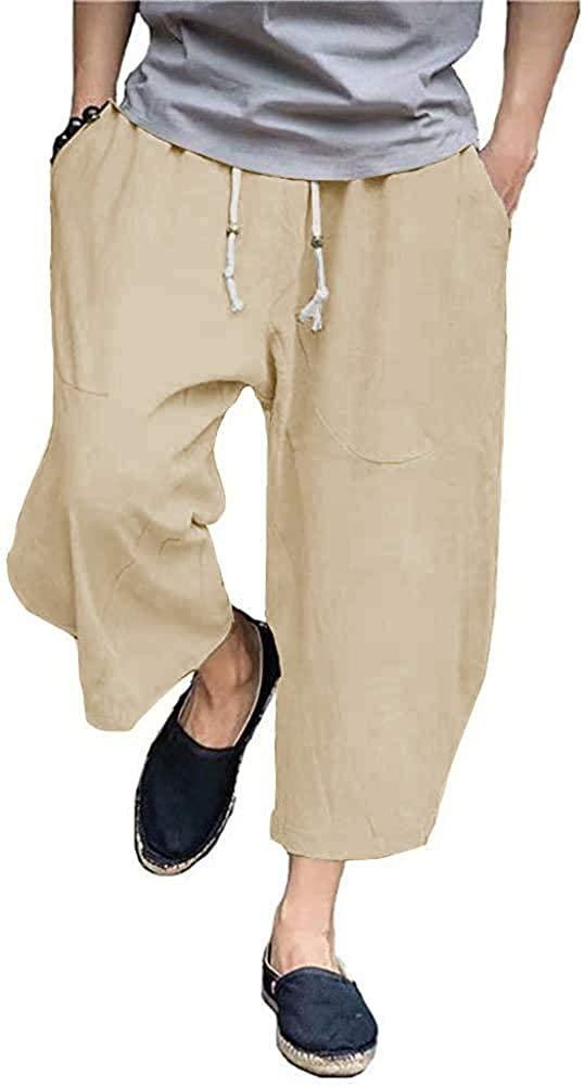 Bbalizko Mens Casual Linen Capri Pants Elastic Waist Wide Leg Baggy Harem 3/4 Pants with Pockets