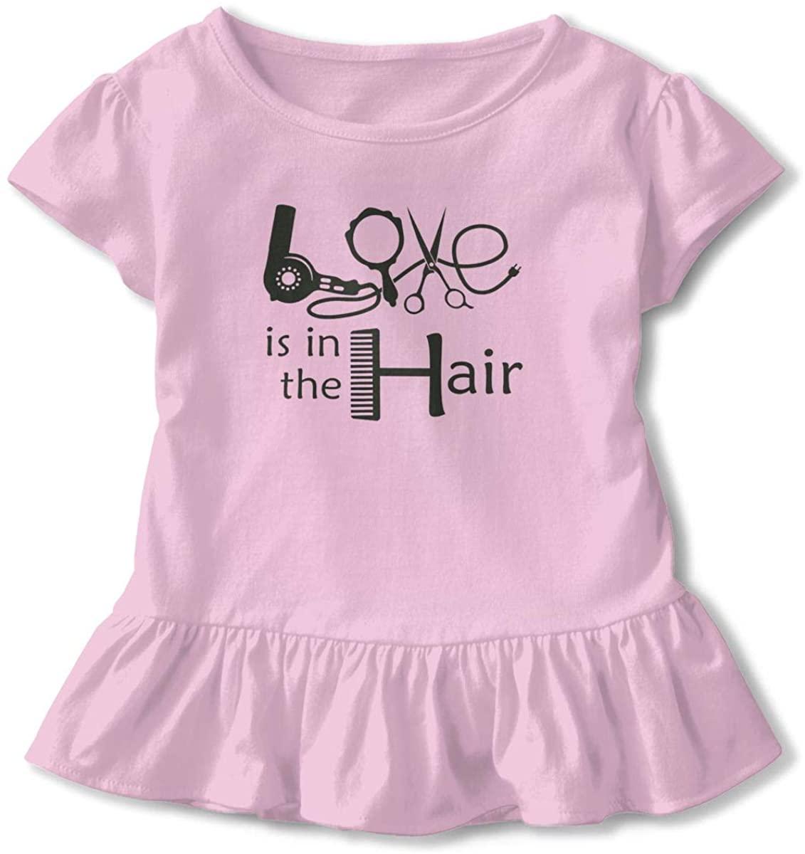 Kids Love is in The Hair Toddler Short Sleeve T Shirt Children Girls Cotton Graphic Tee Soft Dress (2-6T)