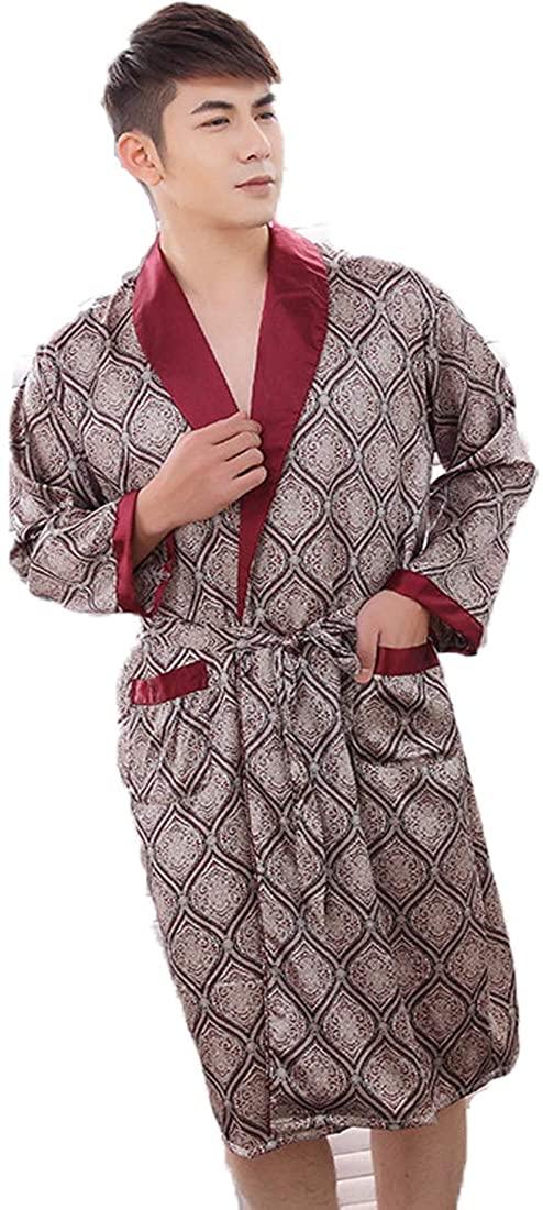 Globalwells Men Kimono Bathrobe Printed Robes Long Sleepwear Satin Nightwear Gown Pajamas