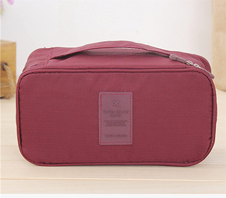 SGirl Portable Waterproof Multi-Functional Women Lady Travel Organizer Bra Storage Underwear Lingerie Bag Cosmetic Makeup Case Toiletry Wash Storage (Red wine)