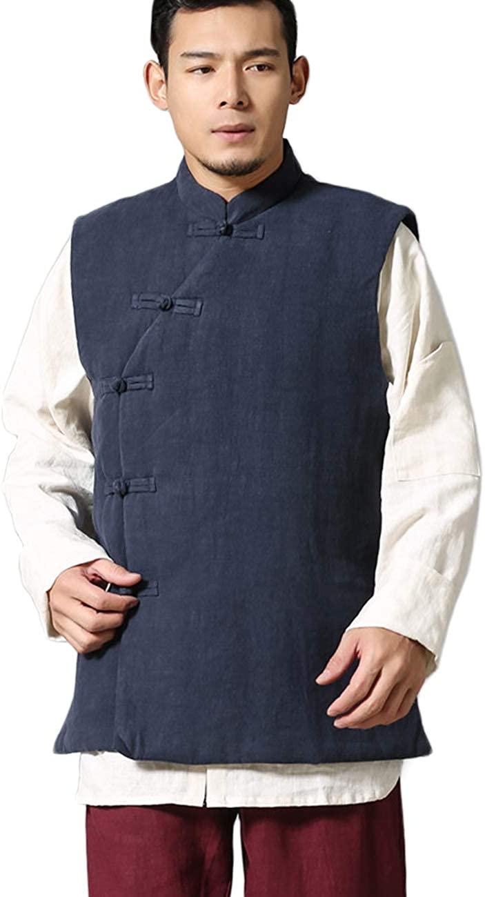 LZJN Mens Summer Waistcoat Chinese Style Vintage Kung Fu Shirt Sleeveless Vest Jacket