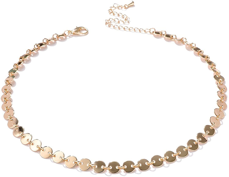 Alloy Choker Necklace for Women Disc Choker Necklace Silver/Golden