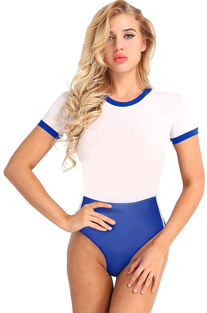 CHICTRY Women's One Piece Bodysuit Schoolgirl Cheer Leader Cosplay Costume High Cut Leotard Lingerie