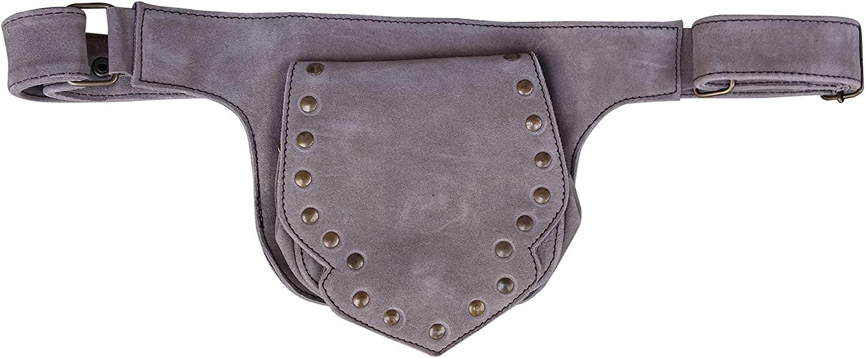 Leather Festival Belt | Studded, 2 Pocket | travel, festivals, fanny pack, cosplay (Grey)