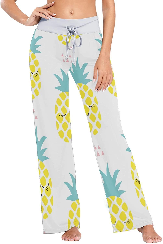 VVIEER Pineapple Print Womens Sleepwear Loose Palazzo Casual Drawstring Yoga Pants