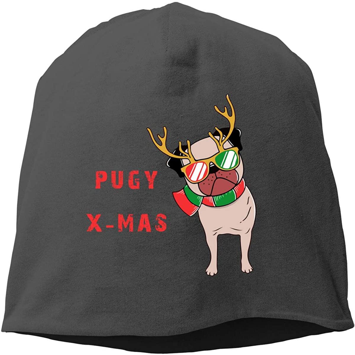 allgobee Slouchy Beanie Funny Santa Pug Baggy Unisex Skull Cap Summer Winter Acrylic Knit Hat Black