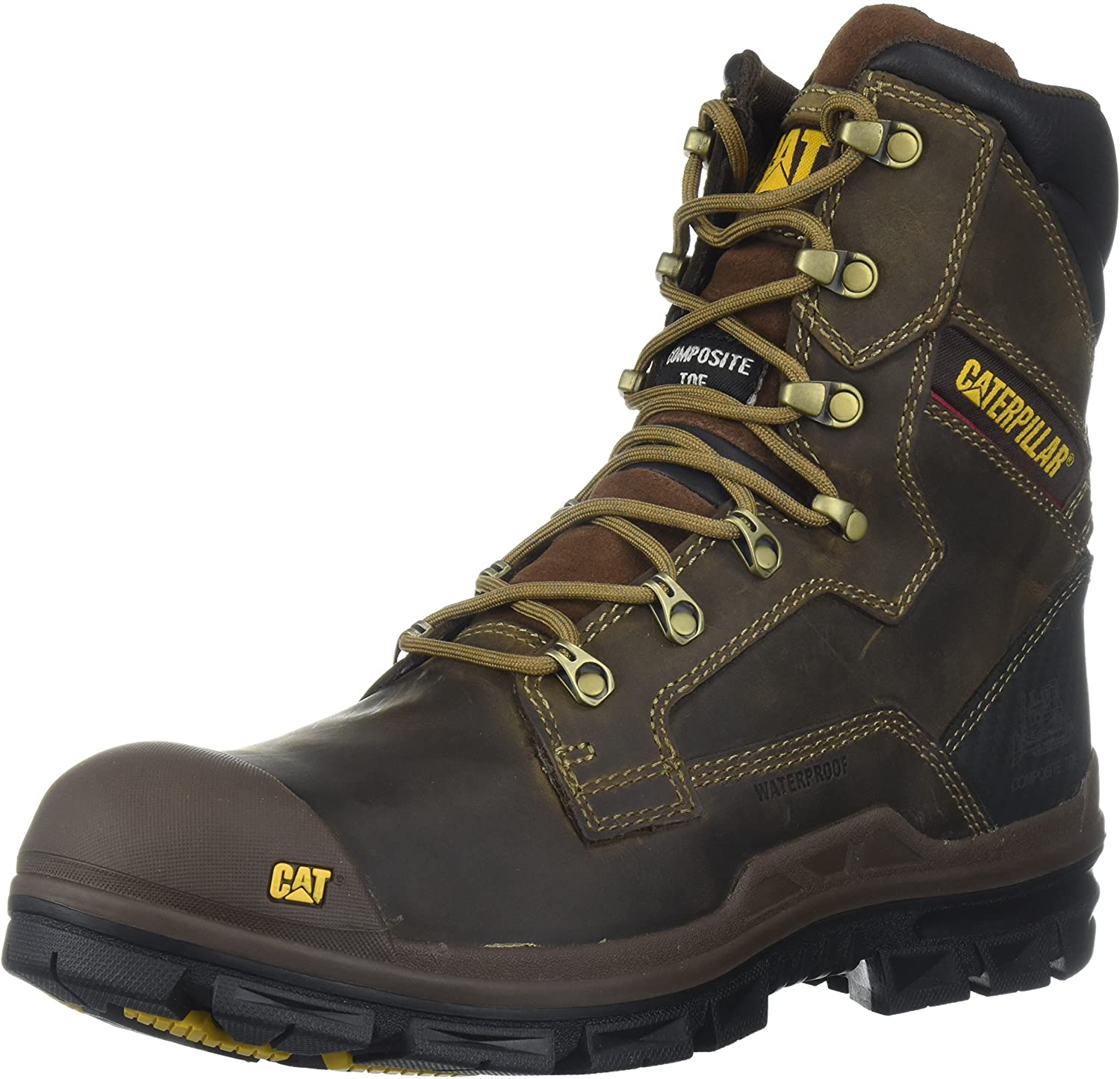 Caterpillar Men's Scaffold Waterproof Nano Toe/Dark Brown Industrial and Construction Shoe