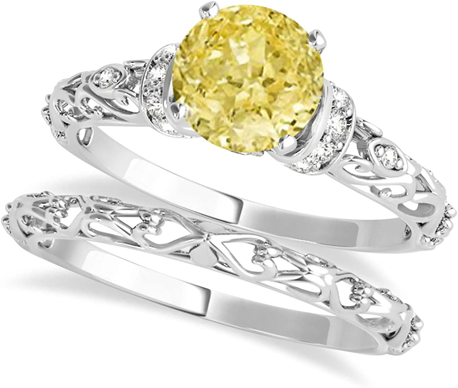 (1.12ct) Palladium Yellow Diamond and Diamond Antique-Style Bridal Set