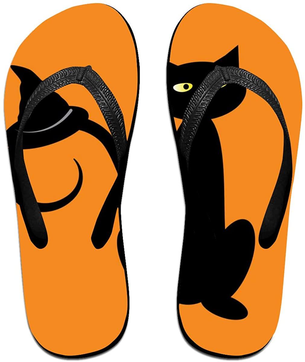 Mens Flip Flop Slippers Black Halloween Cat with Witch Hat,Orange Rubber Comfy Flip Flops Outdoor Beach Sandals