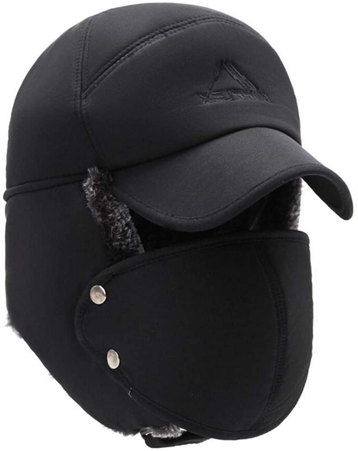 Mens Winter Hats Ear Flaps Bomber Hats with Brim and Face Mask Warm Hat for Men Waterproof Ski Cap,Black
