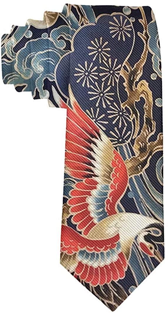 Tie Funny Neckties Japanese Crane Art Fashion Wide Novelty Neck Ties For Men teen
