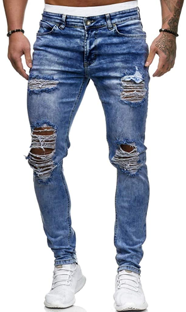 Men's Casual Slim Fit Jeans Ripped Skinny Distressed Destroyed Denim Pants Holes Jeans Fashion Streetwear