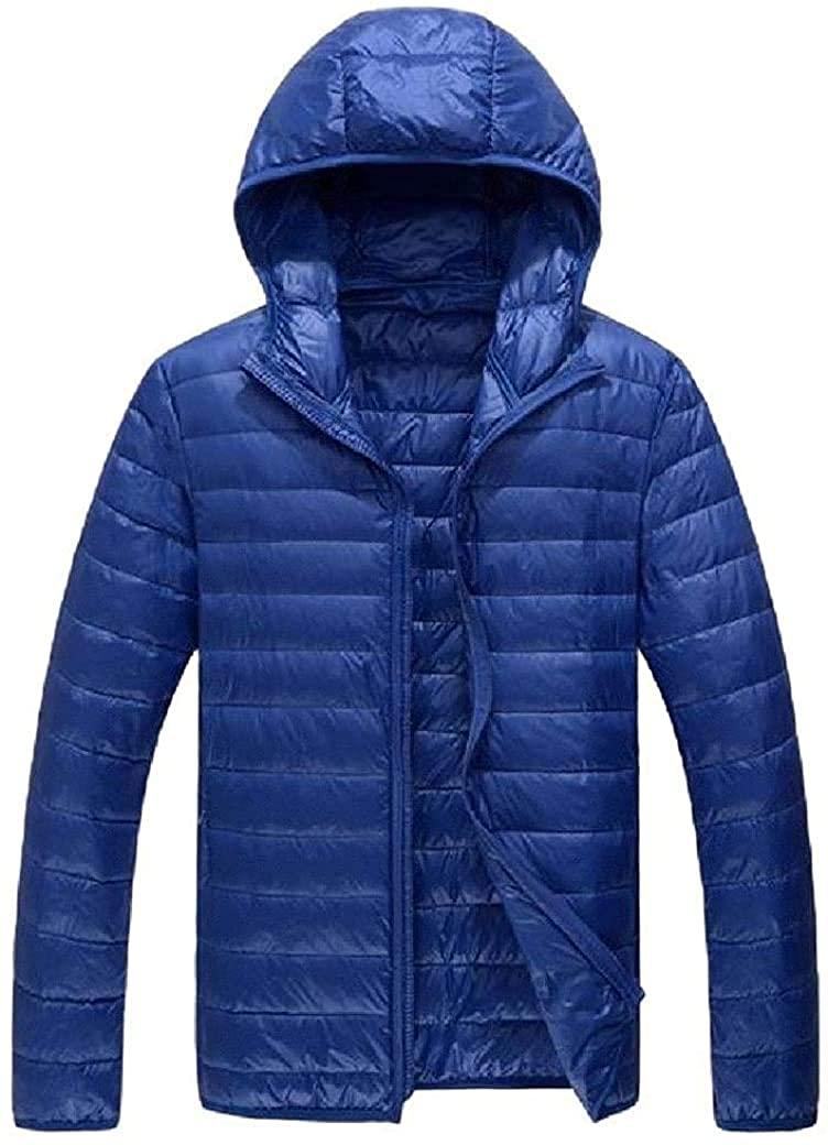 Fnbdyfjdsf Men Lightweight Lined Full Zip Hooded Packable Puffer Down Jacket,As1,Medium