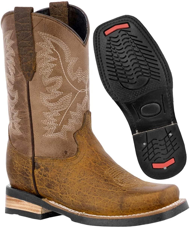 Kids Honey Western Cowboy Boots Grain Leather Square Toe