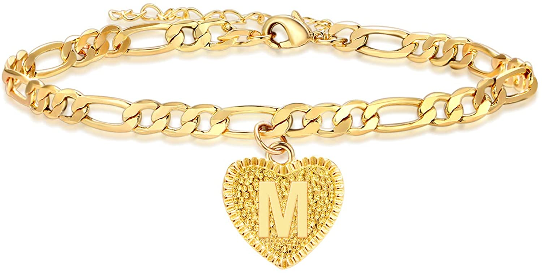 HUASAI Cuban Link Initial Anklets Bracelet for Women Heart Letter Anklet Gold Alphabet Anklet for Teen Girls