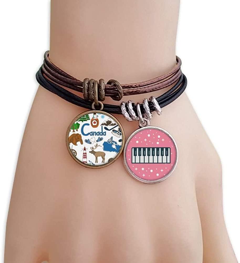 cold master DIY lab Canada Landscap Animals National Flag Bracelet Rope Wristband Piano Key Music Charm