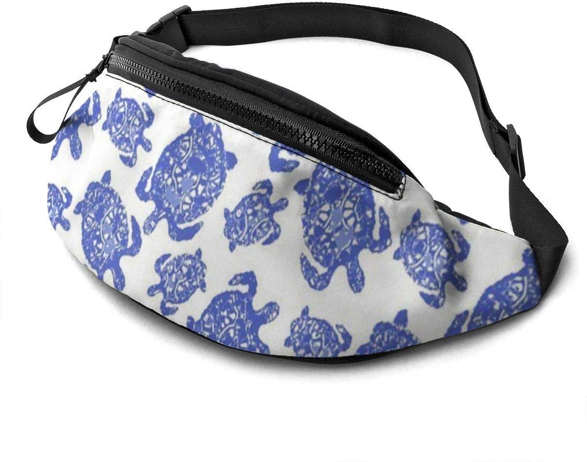 Turtlebay Caretta Blue Fanny Pack For Men Women Waist Pack Bag With Headphone Jack And Zipper Pockets Adjustable Straps