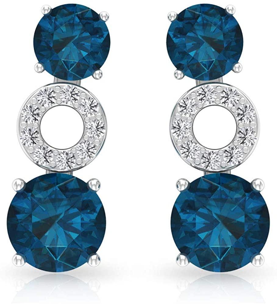 0.78 Ct Blue Topaz London Climber Earring, Gemstone Cartilage Earring, IGI Certified Diamond IJ-SI Crawler Earring, Stackable Bridesmaid Earring, Screw back