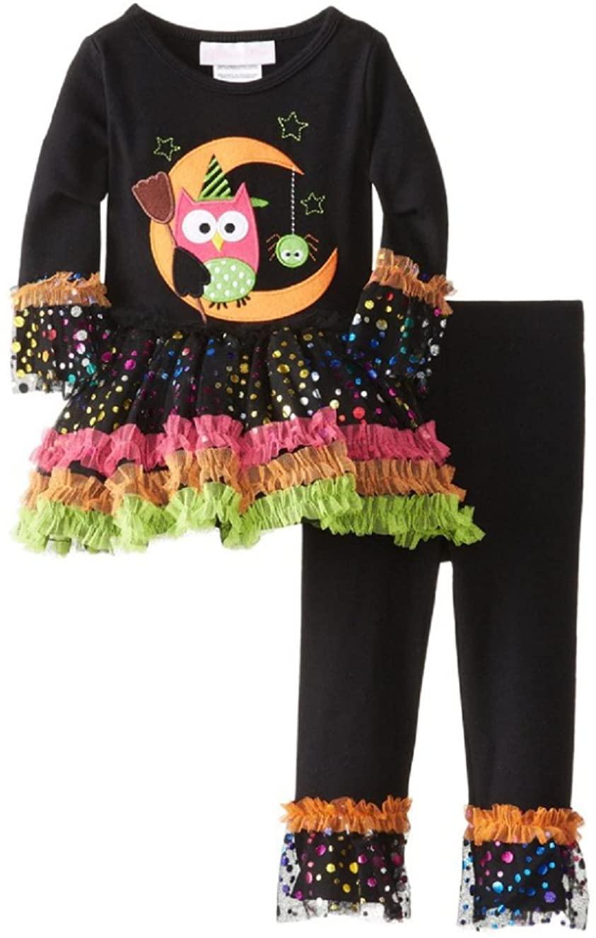 Bonnie Jean Little Girls 2T-6X Witch Owl Appliqued Legging Set