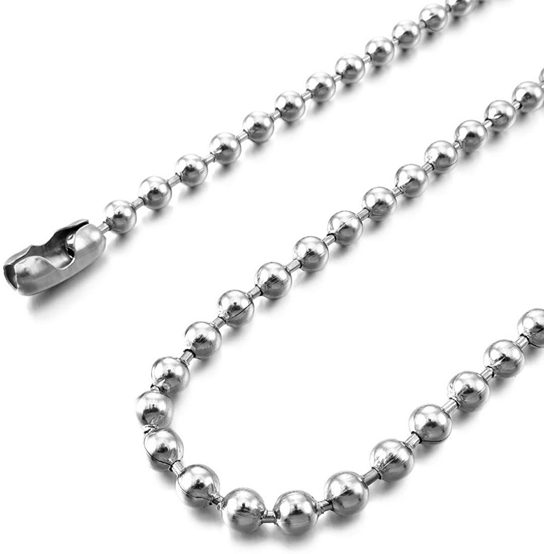 INBLUE Men's 1.5~4.5mm Wide Stainless Steel Necklace Bead Chain Link Silver Tone 14~40 Inch