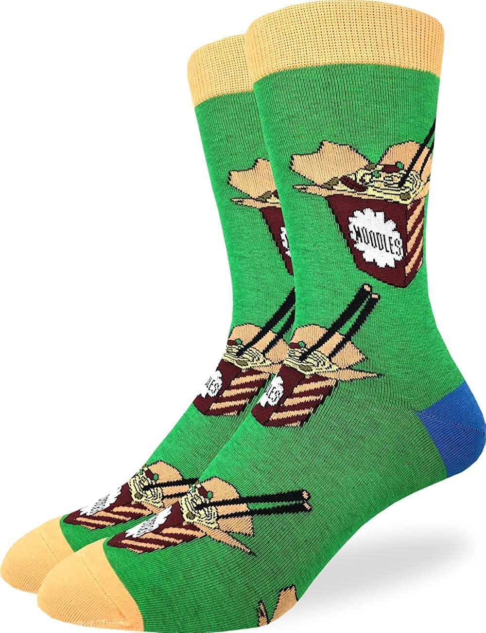 Good Luck Sock Mens Noodles Socks - Green, Adult Shoe Size 7-12