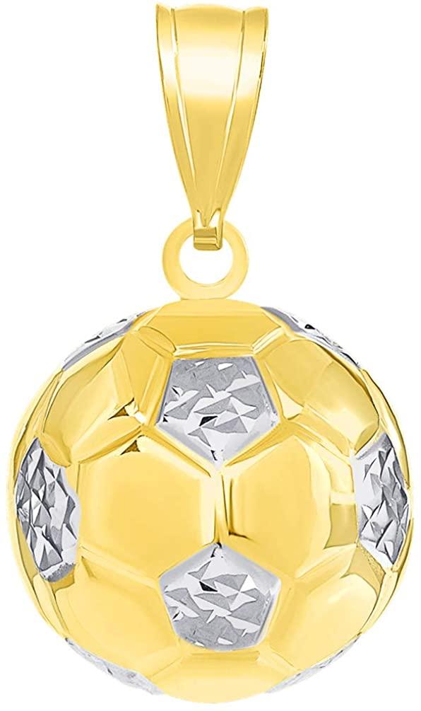 14K Yellow Gold Soccer 3D Ball Charm Futbol Sports Pendant with High Polish
