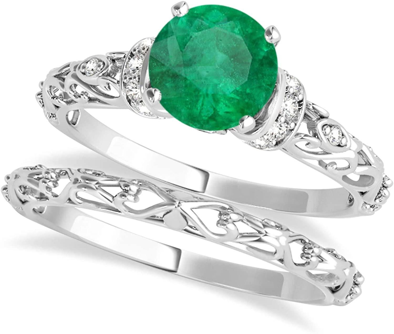 (1.12ct) Palladium Emerald and Diamond Antique-Style Bridal Set