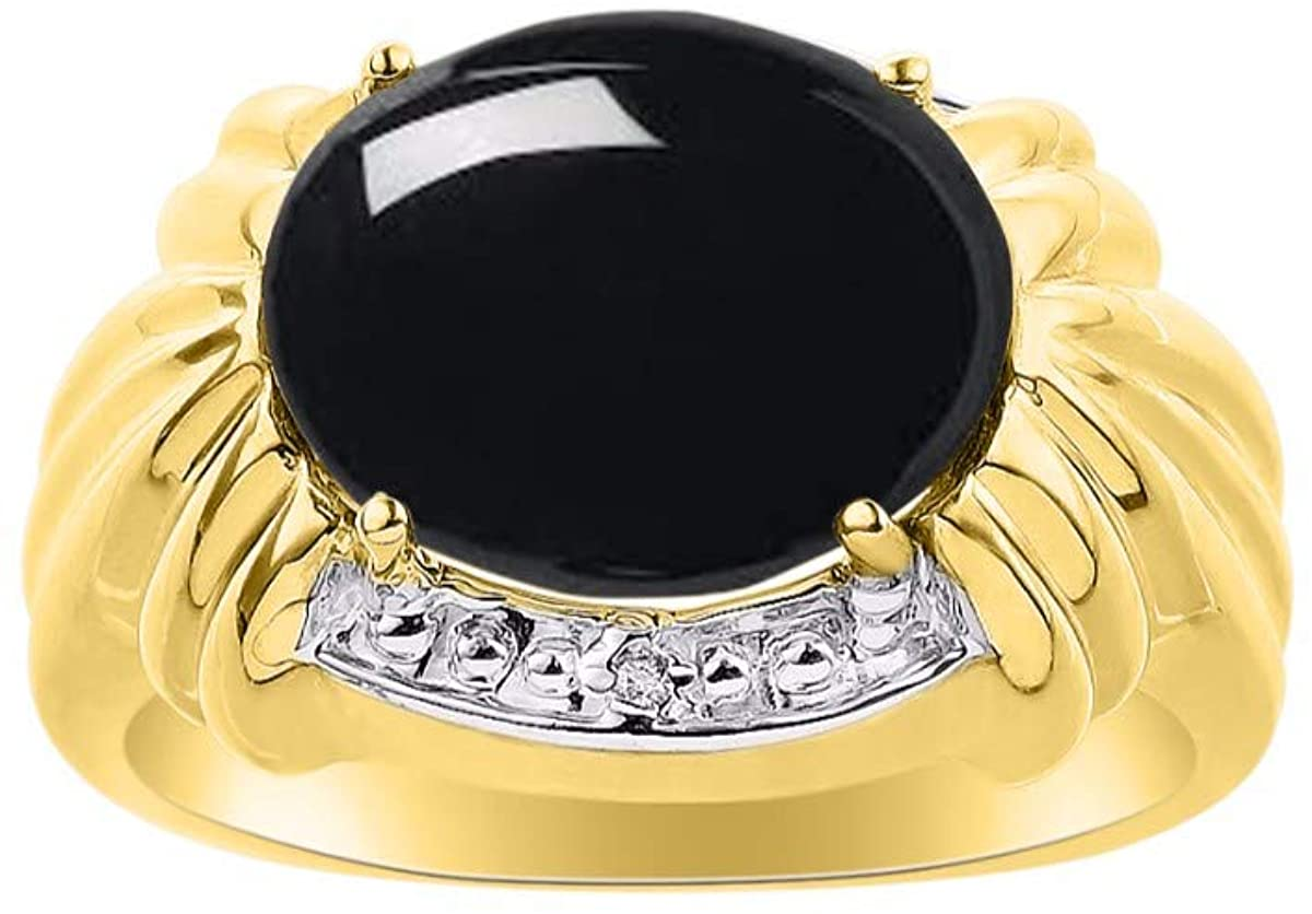 RYLOS Classic Ladies Ring Oval Cabochon Gemstone & Genuine Sparkling Diamonds 14K Yellow Gold Plated Silver .925, 12X10MM Great Ring for Middle or Pointer Finger