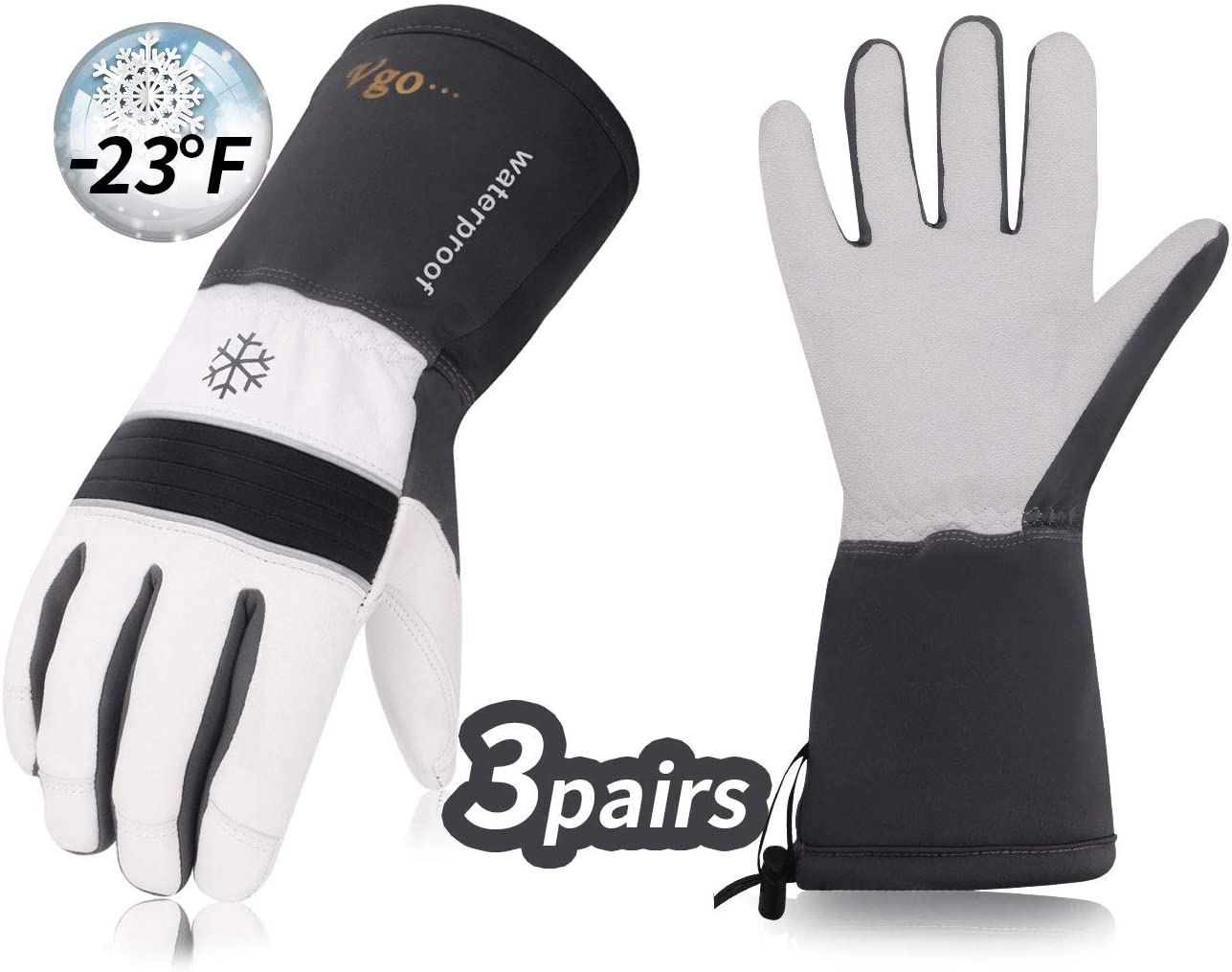 Vgo 3Pairs -23 ℉ or above 3M Thinsulate G200 Lined Goatskin Leather Winter Warm Ski Gloves, Cold Storage Work Gloves, Waterproof Insert (Size M,Grey,GA8435FW)