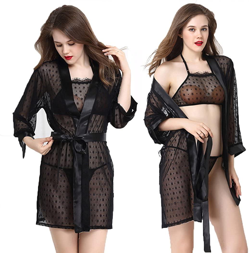 CatchyMarket Women Sexy Sheer Babydoll Sleepwear Lace Dress G-String Lingerie