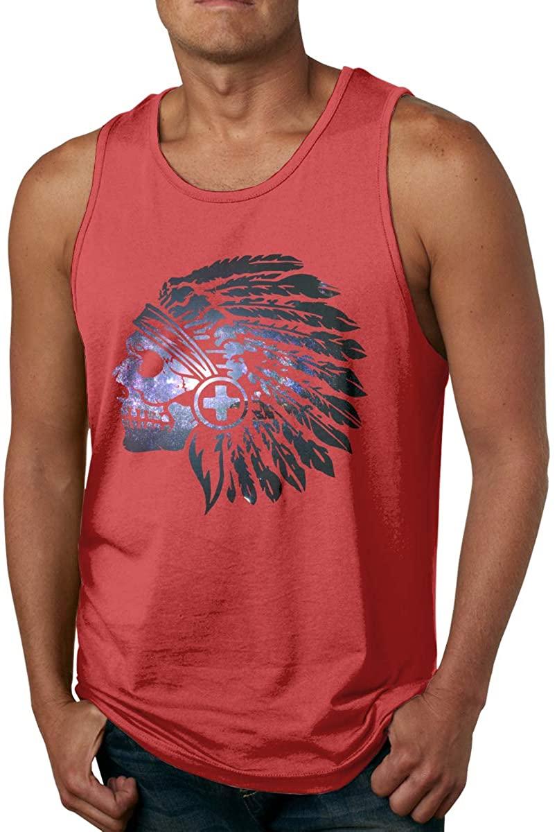 Classic Tanks Native American Headdress Skull Men's Cotton Tank Top Shirt
