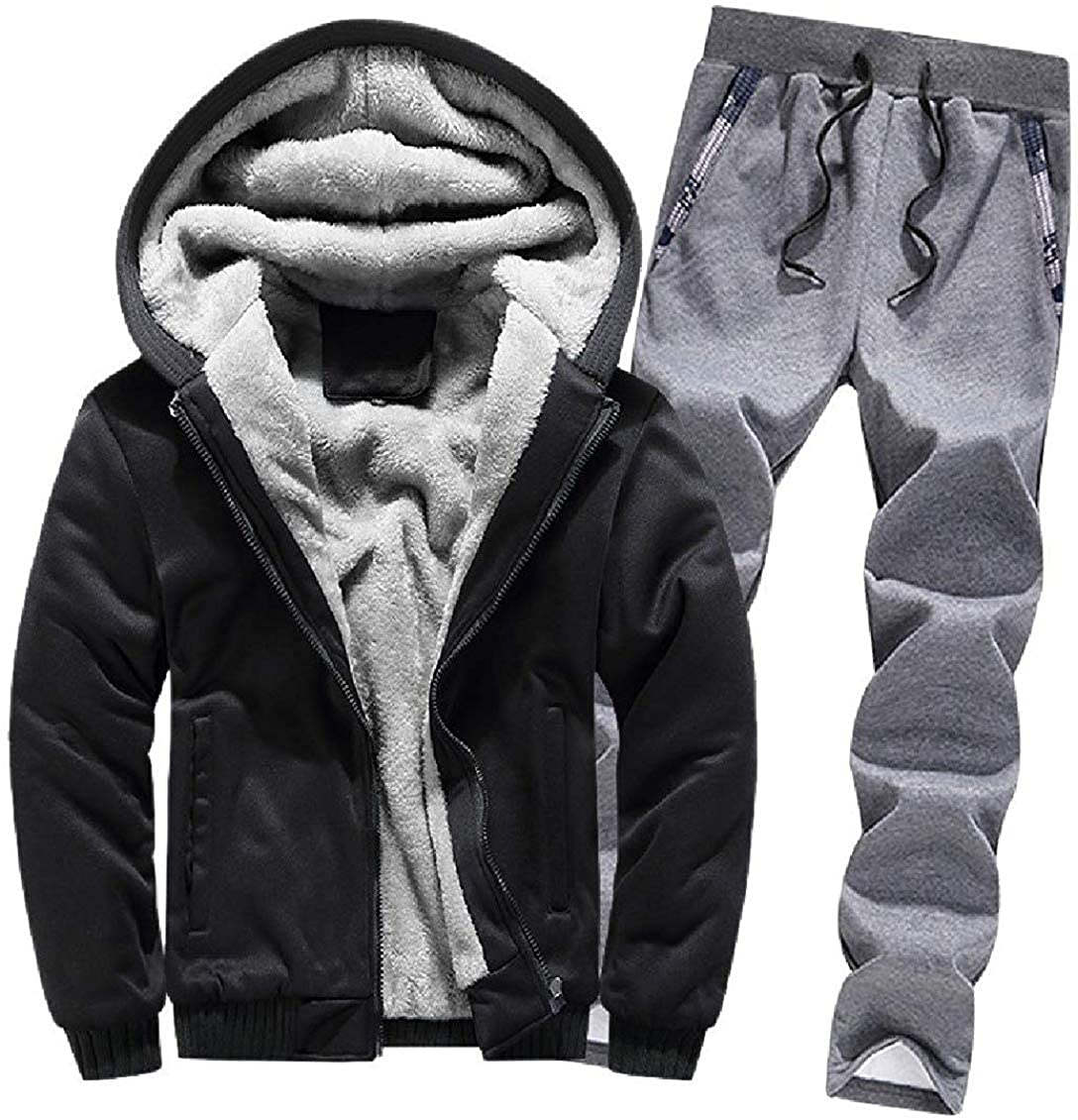 hower Mens Fleece Thickened Hoodie Warm Sherpa Lined Tracksuit Set AS22 Large