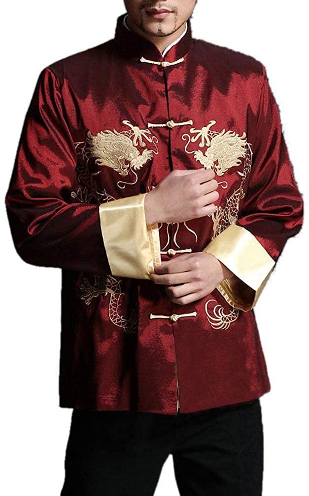 Stylish Red Kung Fu Men's Blazer Padded Jacket Dragon Shirt - 100% Silk #105 + Free Magazine